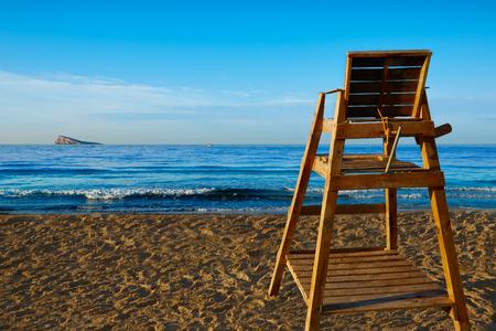 watchtower: Benidorm Poniente beach watchtower seat in Alicante Mediterranean of Spain Stock Photo