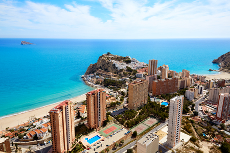 Benidorm Poniente strand in Alicante Middellandse Zee van Spanje