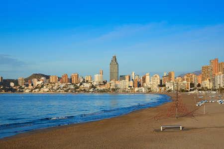 playa blanca: Benidorm Poniente beach in Alicante Mediterranean of Spain