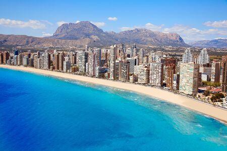 Benidorm aerial Levante beach in Alicante Mediterranean of Spain