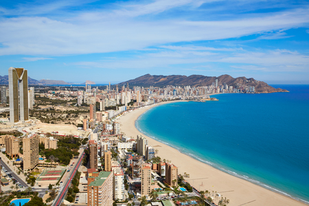 Benidorm beach aerial skyline in Alicante Mediterranean of Spain