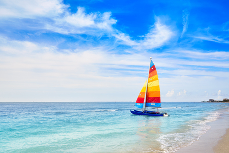 Florida Fort Myers beach catamaran sailboat in USA Stock Photo