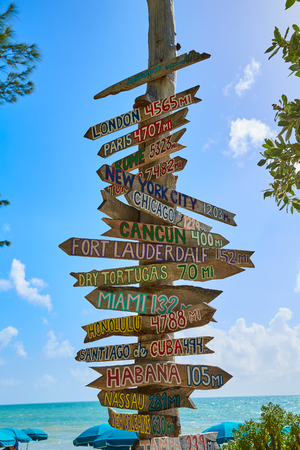 west coast: Key West beach distance signs to worldwide landmarks Florida USA Fort Zachary Taylor Stock Photo