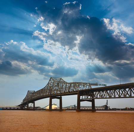 horace: Louisiana Baton Rouge Horace Wilkinson Bridge Interstate i10 over Mississippi river USA Stock Photo