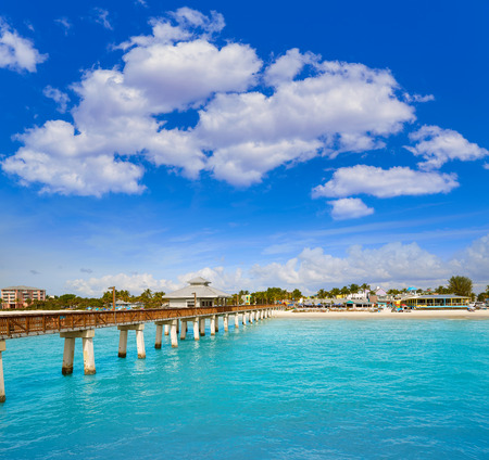 gulf of mexico: Florida Fort Myers Pier beach in USA Stock Photo