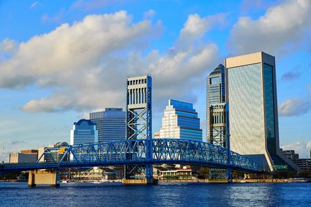 jacksonville: Jacksonville skyline evening with blue river reflection in florida USA