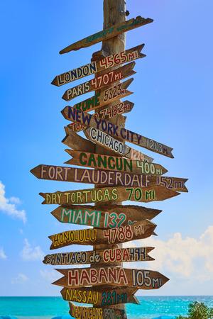 west: Key West beach distance signs to worldwide landmarks Florida USA Fort Zachary Taylor Stock Photo