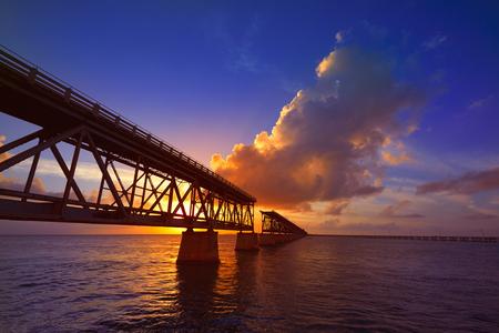 paradise bay: Florida Keys old bridge sunset at Bahia Honda Park in USA