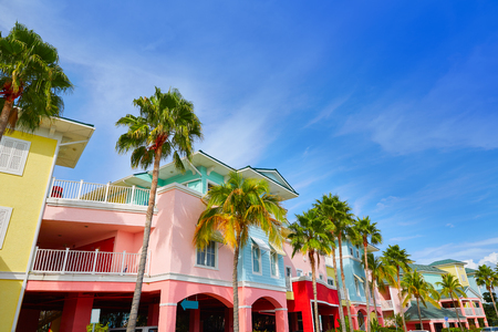 Florida Fort Myers colorful facades and palm trees in USA 스톡 콘텐츠