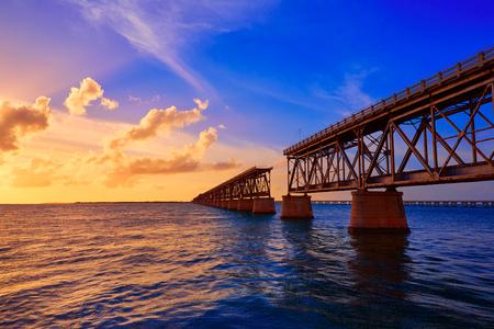 HONDA: Florida Keys old bridge sunset at Bahia Honda Park in USA