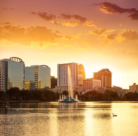 Orlando skyline sunset at lake Eola in Florida USA Stock fotó