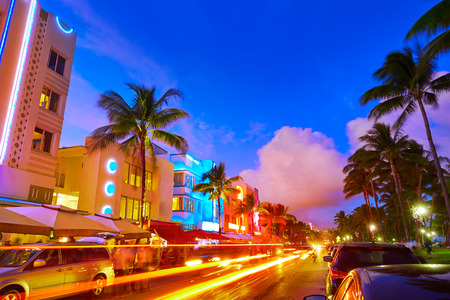 miami south beach: Miami Beach South Beach sunset in Ocean Drive Florida Art Deco and car lights Stock Photo