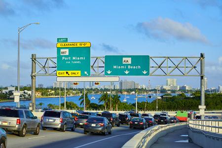 city traffic: Miami downtown traffic driving to Miami beach in Florida USA