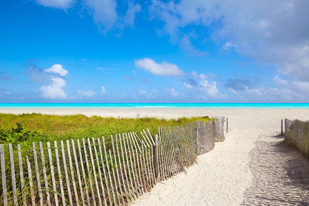 shore: Miami south Beach entrance in Florida USA Stock Photo