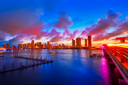 sunrise ocean: Miami downtown skyline sunset in Florida USA