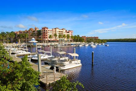 Naples Bay marina in florida USA from Tamiami Trail