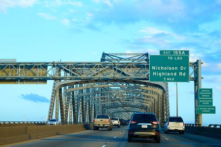 scenic highway: Horace Wilkinson Bridge in Mississippi river at Baton Rouge of Louisiana USA