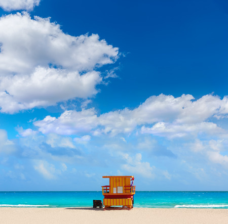 south beach: Miami beach baywatch tower in south beach of Florida USA Stock Photo