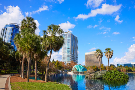 Orlando skyline fom lake Eola in Florida USA Stock Photo