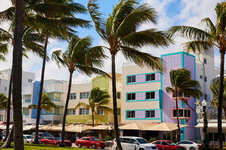 districts: Miami Beach Ocean boulevard Art Deco district in florida USA Stock Photo