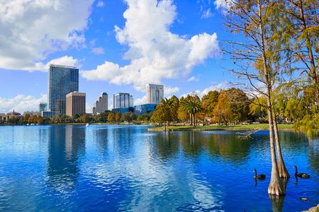 Orlando skyline fom lake Eola in Florida USA Stock Photo