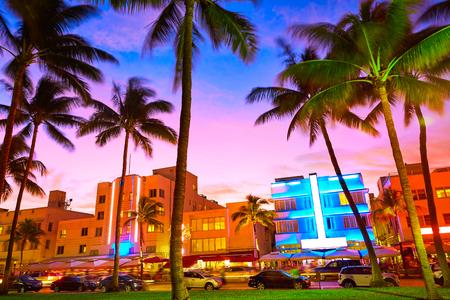 Miami Beach South Beach sunset in Ocean Drive Florida Art Deco Stock fotó