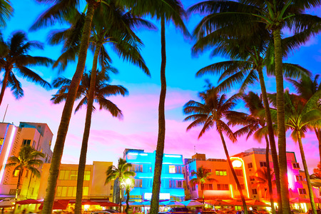 districts: Miami Beach South Beach sunset in Ocean Drive Florida Art Deco Stock Photo