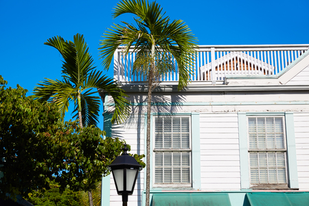 key west: Key west downtown street houses facades in Florida USA