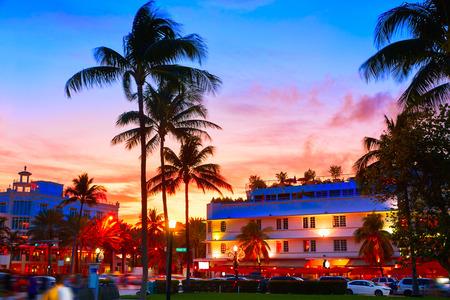 beach sunset: Miami Beach South Beach sunset in Ocean Drive Florida Art Deco Stock Photo