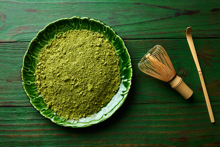 maccha: Matcha tea powder bamboo whisk chasen and spoon for japanese ceremony