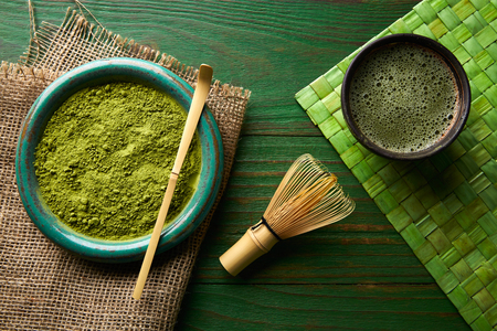 japanese green tea: Matcha tea powder bamboo whisk chasen and spoon for japanese ceremony