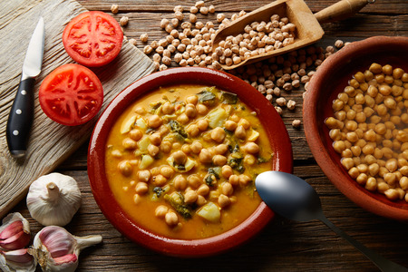 spanish home: Potaje de Garbanzos chickpea stew Spain recipe traditional with ingredients Stock Photo