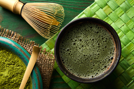 ceremonial: Matcha tea powder bamboo whisk chasen and spoon for japanese ceremony