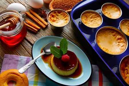 marie: Custard Creme Caramel Flan dessert bain marie oven cooked