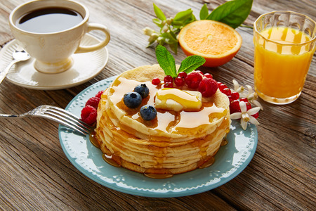 brambleberry: pancakes breakfast syrup coffee and orange juice with berries