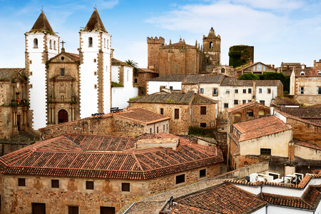 Caceres skyline San Francisco Javier church in Spain Extremadura