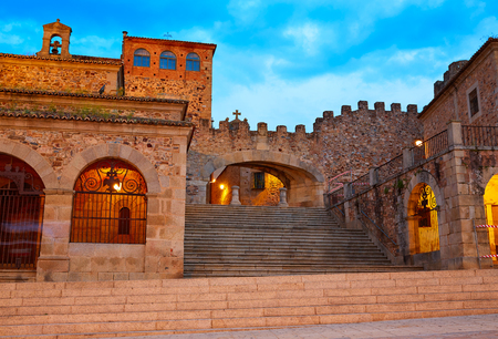 Caceres Plaza Mayor square at sunset in Extremadura of Spain 스톡 콘텐츠