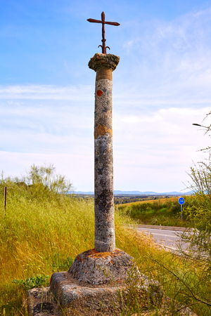 merida: Cross near Merida at the Via de la Plata way in Extremadura of spain