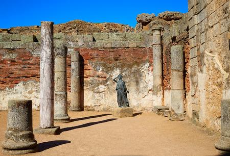 merida: Merida in Badajoz Roman amphitheater at Spain by via de la Plata way Stock Photo