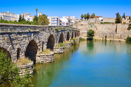 badajoz: Merida in Spain roman bridge over Guadiana river Badajoz Extremadura