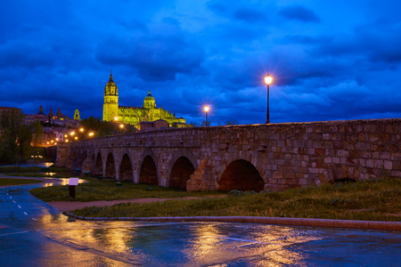 castilla: Salamanca skyline sunset and roman bridge over Tormes river in Spain