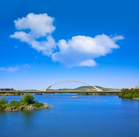 merida: Merida in Spain Lusitania bridge over Guadiana river in Extremadura Stock Photo