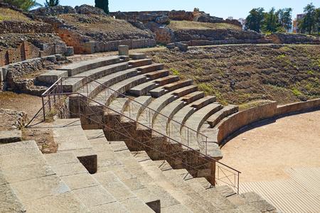 Merida in Badajoz Roman amphitheater at Spain by via de la Plata way Stock Photo