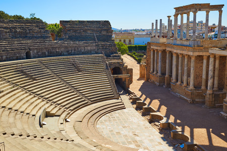 Merida in Badajoz Roman amphitheater at Spain by via de la Plata way Stock Photo