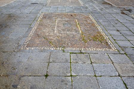 via: Salamanca in spain stones flooring detail along via de la Plata way to Santiago