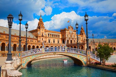 Sevilla Sevilla Plaza de Espana in Andalusië Spanje plein Stockfoto