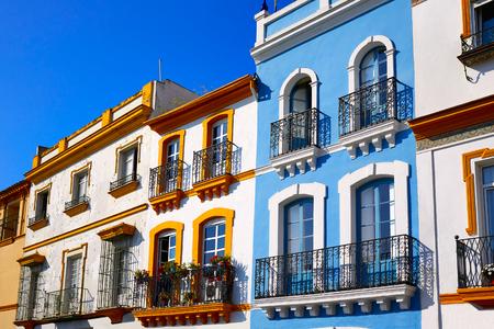 Triana barrio of Seville facades in Andalusia Sevilla Spain Stock Photo