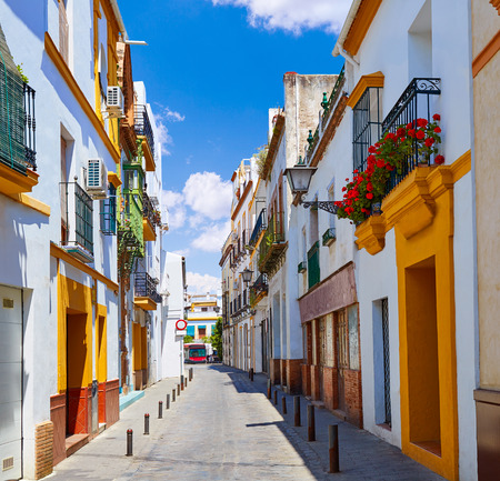 Triana barrio facades in Seville Andalusia Spain Sevilla Stock Photo
