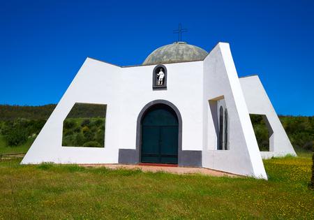 Pradera San Isidro church by Via de la Plata way in Extremadura spain Stock Photo
