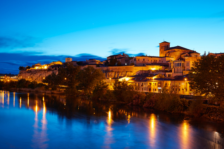zamora: Zamora skyline at sunset by Duero river of Spain Stock Photo
